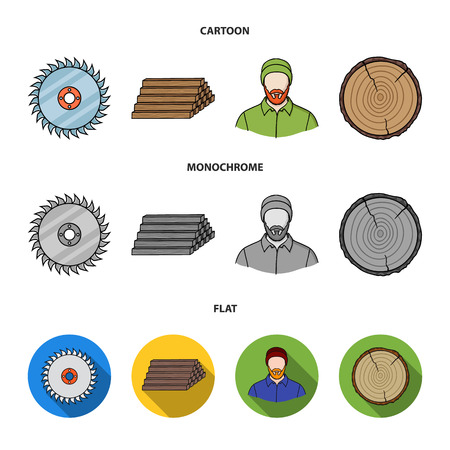 Circular saw, a working carpenter, a stack of logs. A sawmill and timber set collection icons in cartoon,flat,monochrome style vector symbol stock illustration web.