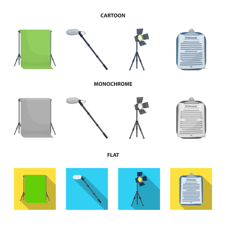 Hromakey, script and other equipment. Making movies set collection icons in cartoon,flat,monochrome style vector symbol stock illustration web. Иллюстрация