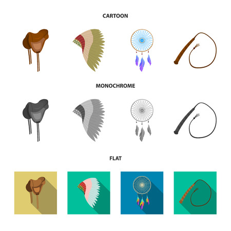 Saddle, Indian mohawk, whip, dream catcher.Wild west set collection icons in cartoon,flat,monochrome style vector symbol stock illustration web.