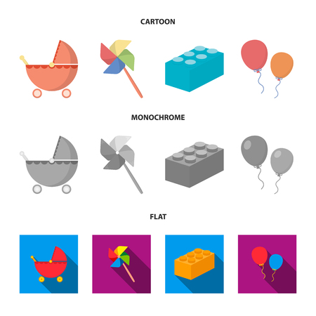 Stroller, windmill, lego, balloons.Toys set collection icons in cartoon,flat,monochrome style vector symbol stock illustration web.