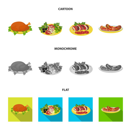 Fried chicken, vegetable salad, shish kebab with vegetables, fried sausages on a plate. Food and Cooking set collection icons in cartoon,flat,monochrome style vector symbol stock illustration web. Reklamní fotografie