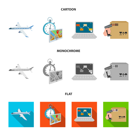 Transport aircraft, delivery on time, computer accounting, control and accounting of goods. Logistics and delivery set collection icons in cartoon,flat,monochrome style isometric vector symbol stock illustration web. Stock Photo