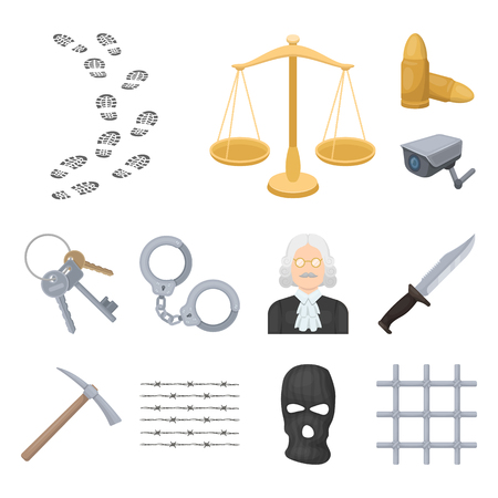 Prison and the criminal cartoon icons in set collection for design.Prison and Attributes vector symbol stock web illustration. Stok Fotoğraf
