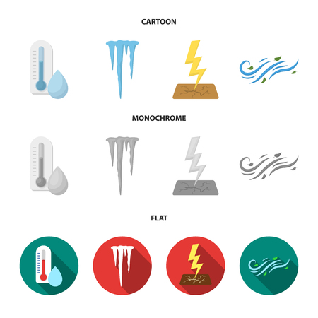 Humidity, icicles, thunderbolt, windy weather. Weather set collection icons in cartoon,flat,monochrome style vector symbol stock illustration web.