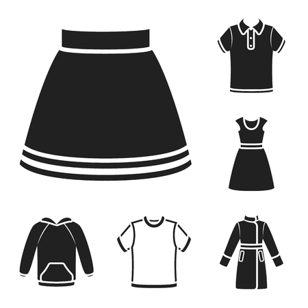 Different kinds of clothes black icons in set collection for design. Clothes and style vector symbol stock web illustration.