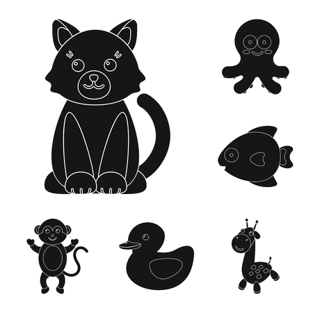 An unrealistic black animal icons in set collection for design. Toy animals vector symbol stock web illustration.