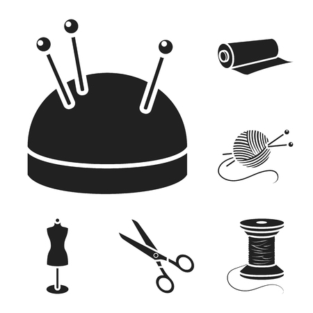 Atelier and sewing black icons in set collection for design. Equipment and tools for sewing vector symbol stock web illustration. Ilustração