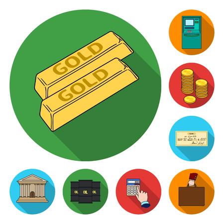 Iconos planos dinero y finanzas en conjunto para el diseño. Negocio y éxito vector símbolo stock web ilustración.