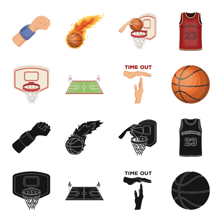 Basketball and attributes black,cartoon icons in set collection for design.Basketball player and equipment vector symbol stock web illustration.