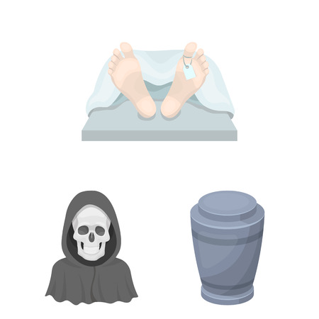 Funeral ceremony cartoon icons in set collection for design. Funerals and Attributes vector symbol stock web illustration. Ilustração