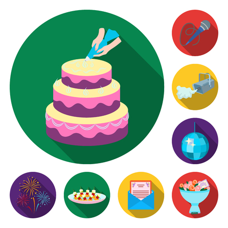 Event Organisation flat icons in set collection for design.Celebration and Attributes vector symbol stock web illustration.  イラスト・ベクター素材