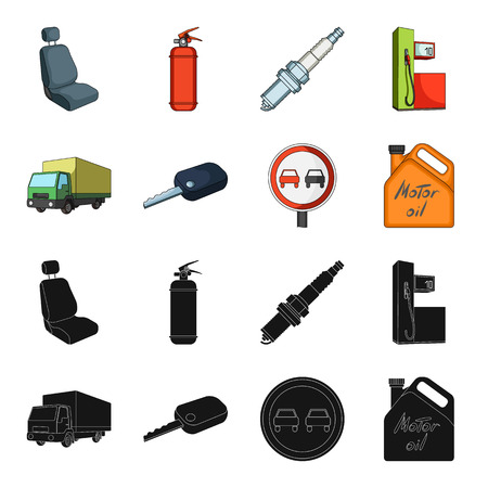 Truck with awning, ignition key, prohibitory sign, engine oil in canister, Vehicle set collection icons in black,cartoon style vector symbol stock illustration web. Vettoriali