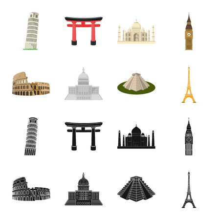 Sights of different countries black,cartoon icons in set collection for design. Famous building vector symbol stock web illustration.