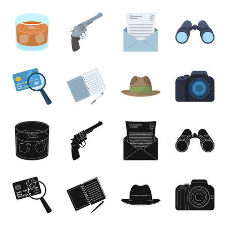 Camera, magnifier, hat, notebook with pen.Detective set collection icons in black,cartoon style vector symbol stock illustration web.