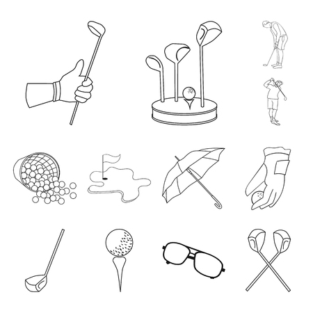 Golf and attributes outline icons in set collection for design.Golf Club and equipment vector symbol stock web illustration.