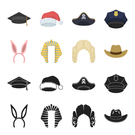 Rabbit ears, judge wig, cowboy. Hats set collection icons in black,cartoon style vector symbol stock illustration web.