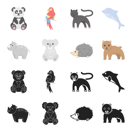 Rhino, koala, panther, hedgehog.Animal set collection icons in black,cartoon style vector symbol stock illustration web.