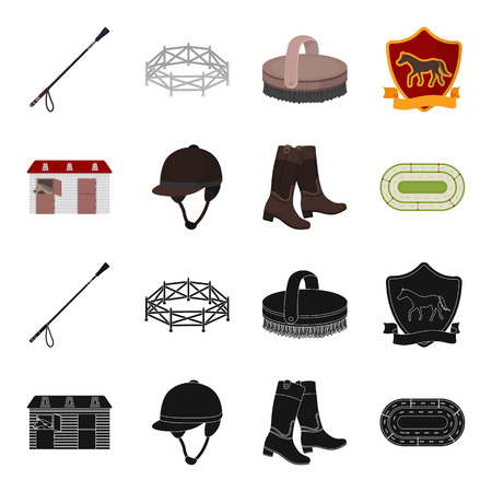 Boots, grass, stadium, track, rest .Hippodrome and horse set collection icons in black,cartoon style vector symbol stock illustration web. Illustration