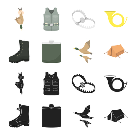 Flying ducks, flask, boots, tent..Hunting set collection icons in black,cartoon style vector symbol stock illustration web.