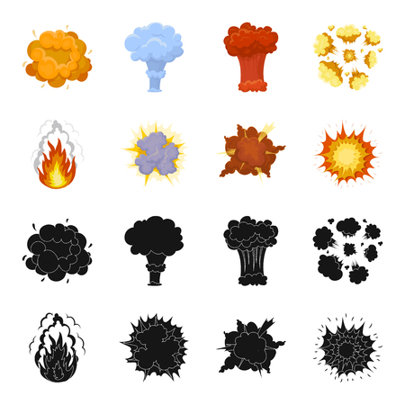 Flame, sparks, hydrogen fragments, atomic or gas explosion, thunderstorm, solar explosion. Explosions set collection icons in black,cartoon style vector symbol stock illustration web.