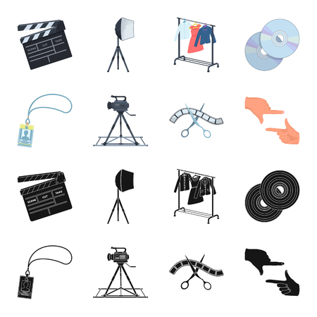 Badge, operator gesture and other accessories for the movie. Making movie set collection icons in black,cartoon style vector symbol stock illustration web.