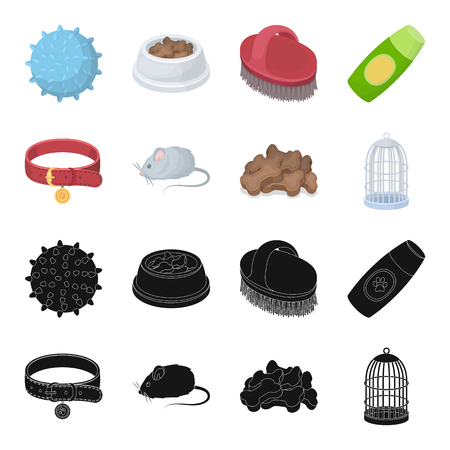 A collar, a forage, a toy, a cage and other products of the zoo store.Pet shop set collection icons in black,cartoon style vector symbol stock illustration web.