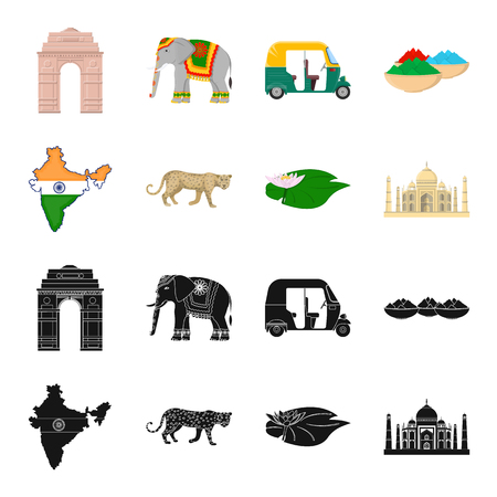 Country India black,cartoon icons in set collection for design.India and landmark vector symbol stock web illustration. Illustration