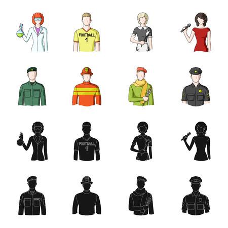 Military, fireman, artist, policeman.Profession set collection icons in black,cartoon style vector symbol stock illustration web. Illustration