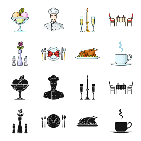 Vase with a flower, table setting, fried chicken with garnish, a cup of coffee.Restaurant set collection icons in black,cartoon style vector symbol stock illustration web.