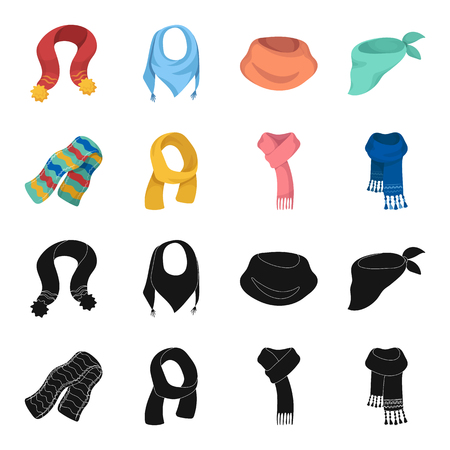 Various kinds of scarves, scarves and shawls. Scarves and shawls set collection icons in black,cartoon style vector symbol stock illustration web. Stock Illustratie
