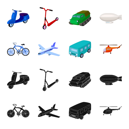 Bicycle, airplane, bus, helicopter types of transport. Transport set collection icons in black,cartoon style vector symbol stock illustration web. Archivio Fotografico - 102478311