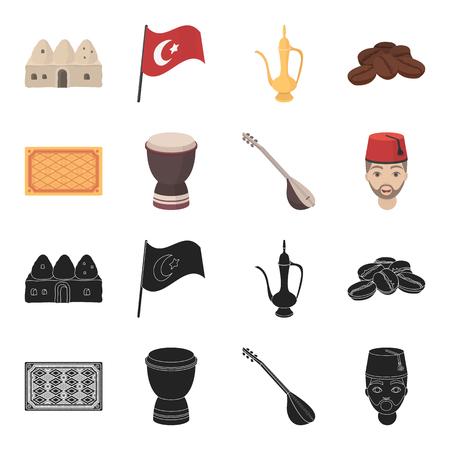 Turkish carpet, saz, drum, turkish men.Turkey set collection icons in black,cartoon style vector symbol stock illustration web.
