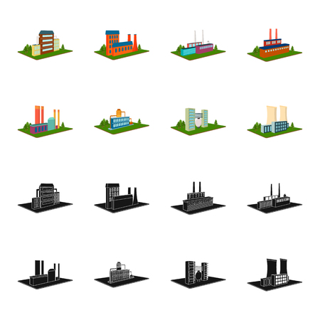 Processing factory,metallurgical plant. Factory and industry set collection icons in black,cartoon style isometric vector symbol stock illustration web.