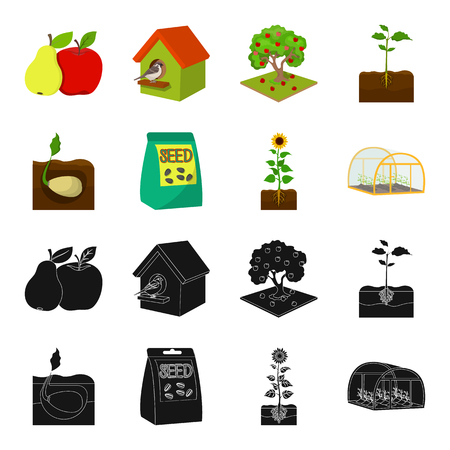 Company, ecology, and other web icon in black,cartoon style. Husks, fines, garden icons in set collection.