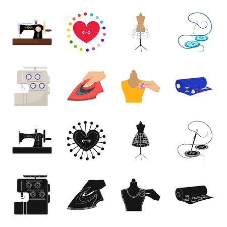 Electric sewing machine, iron for ironing, marking with chalk clothes, roll of fabric and other equipment. Sewing and equipment set collection icons in black,cartoon style vector symbol stock illustration web. Illustration