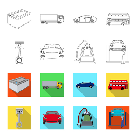 Car on lift, piston and pump outline,flat icons in set collection for design.Car maintenance station vector symbol stock illustration web. Illustration