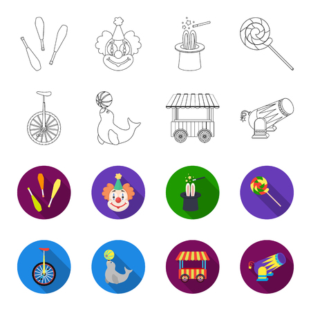 Lollipop, trained seal, snack on wheels, monocycle.Circus set collection icons in outline,flat style vector symbol stock illustration web. Illustration