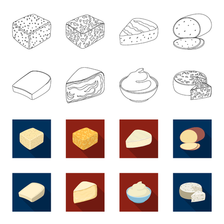 Gruyere, camembert, mascarpone, gorgonzola.Different types of cheese set collection icons in outline,flat style vector symbol stock illustration web. Ilustração