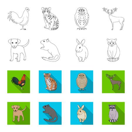 Chiot, rongeur, lapin et autres espèces animales.Animaux mis icônes de la collection dans le contour, le style plat vecteur symbole stock illustration web.