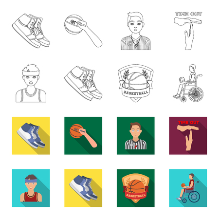 Basketball and attributes outline,flat icons in set collection for design.Basketball player and equipment vector symbol stock web illustration.