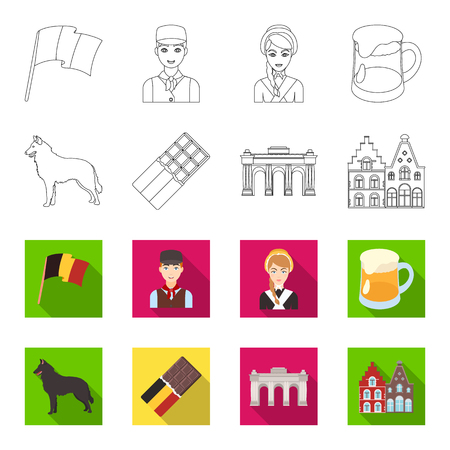 Chocolate, cathedral and other symbols of the country.Belgium set collection icons in outline,flat style vector symbol stock illustration web.