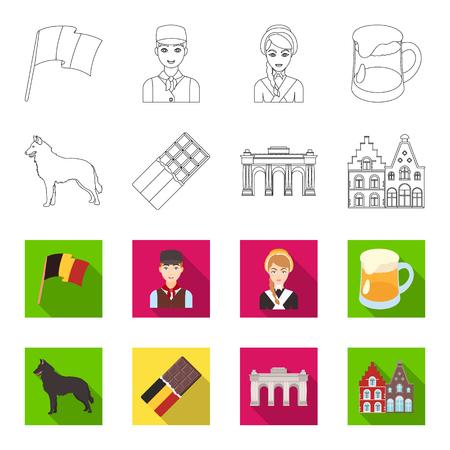 Chocolat, cathédrale, et, autres, symboles, de, les, country., Belgique, ensemble, collection, icônes, dans, contour, plat, style, vecteur, symbole, stockage, illustration, web.