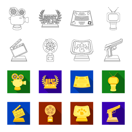 Gold pistol, silver prize for the best supporting role and other prizes.Movie awards set collection icons in outline,flat style vector symbol stock illustration web.
