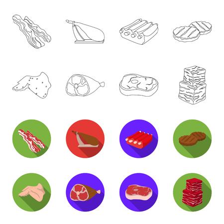 Kippenvleugels, ham, rauwe biefstuk, rundvleesblokjes. Vlees collectie iconen in overzicht, vlakke stijl vector symbool stock illustratie web instellen.
