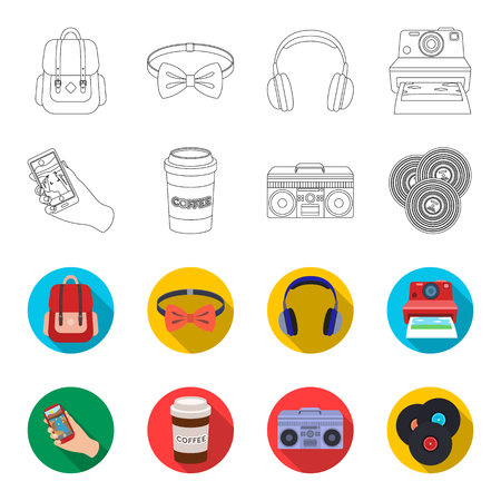 Hipster, fashion, style, subculture .Hipster style set collection icons in outline,flat style vector symbol stock illustration web. Illustration