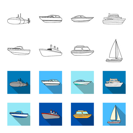 Protection boat, lifeboat, cargo steamer, sports yacht.Ships and water transport set collection icons in outline,flat style vector symbol stock illustration web.