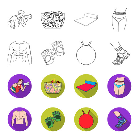 Men torso, gymnastic gloves, jumping ball, sneakers. Fitnes set collection icons in outline,flat style vector symbol stock illustration web. Foto de archivo - 102478612