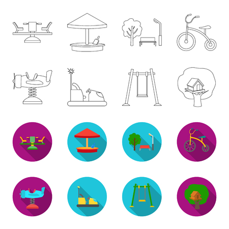 Airplane on a spring, swings and other equipment. Playground set collection icons in outline,flat style vector symbol stock illustration web. Illustration