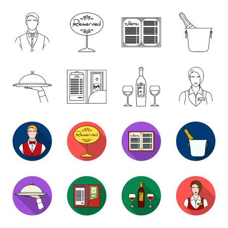 A tray with a cloth, check and cash, a bottle of wine and glasses, a waitress with a badge. Restaurant set collection icons in outline,flat style vector symbol stock illustration web.