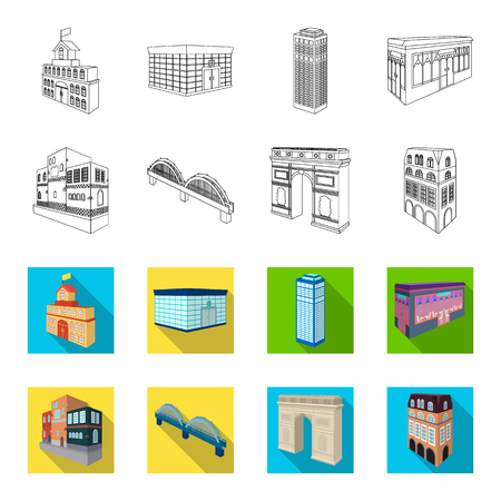Arc de Triomphe in Paris, Reinforced bridge, cafe building, House in Scandinavian style. Architectural and building set collection icons in outline,flat style vector symbol stock illustration web.